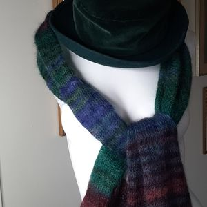 Mohair scarf and matching velvet and wool hat